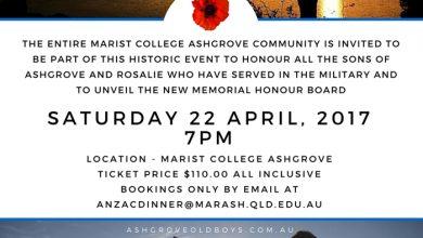 Marist Anzac Dinner – Saturday 22 April 2017