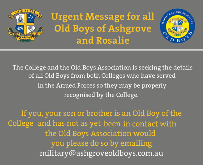 Urgent Message for Old Boys of Ashgrove and Rosalie