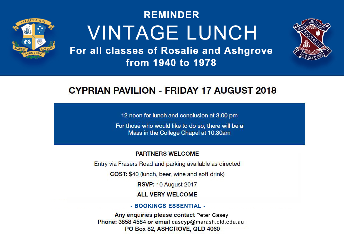 Vintage Lunch – Friday 17 August 2018
