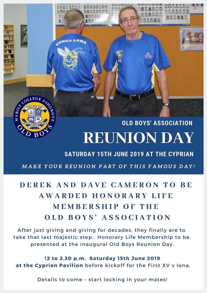 Reunion Day – Saturday 15 June 2019