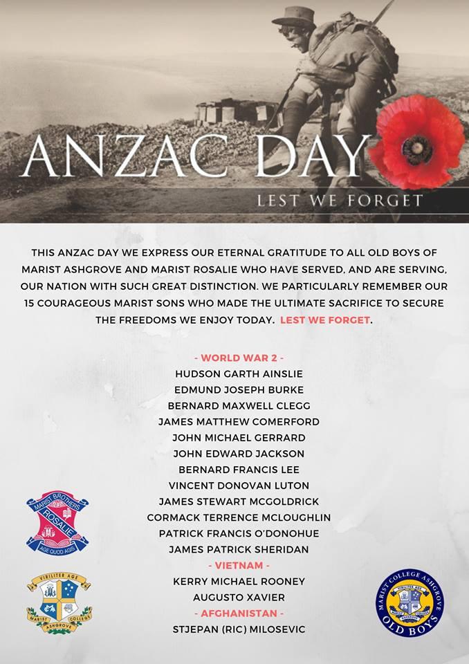 Anzac Day – Thursday 25 April 2019.