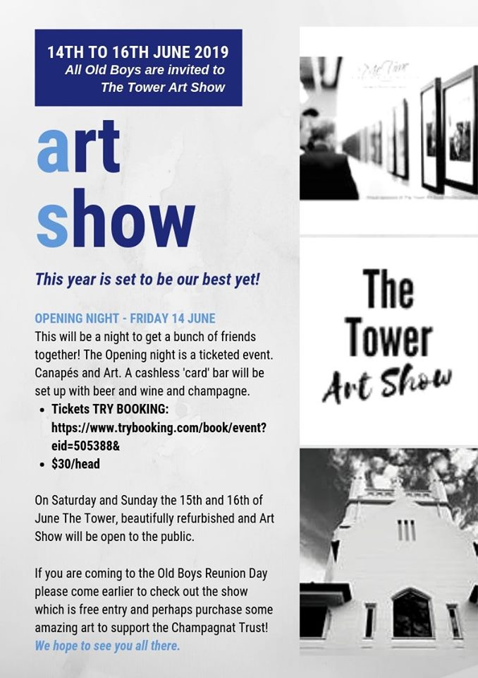 All Old Boys are invited to The Tower Art Show – 14th to 16th June, 2019