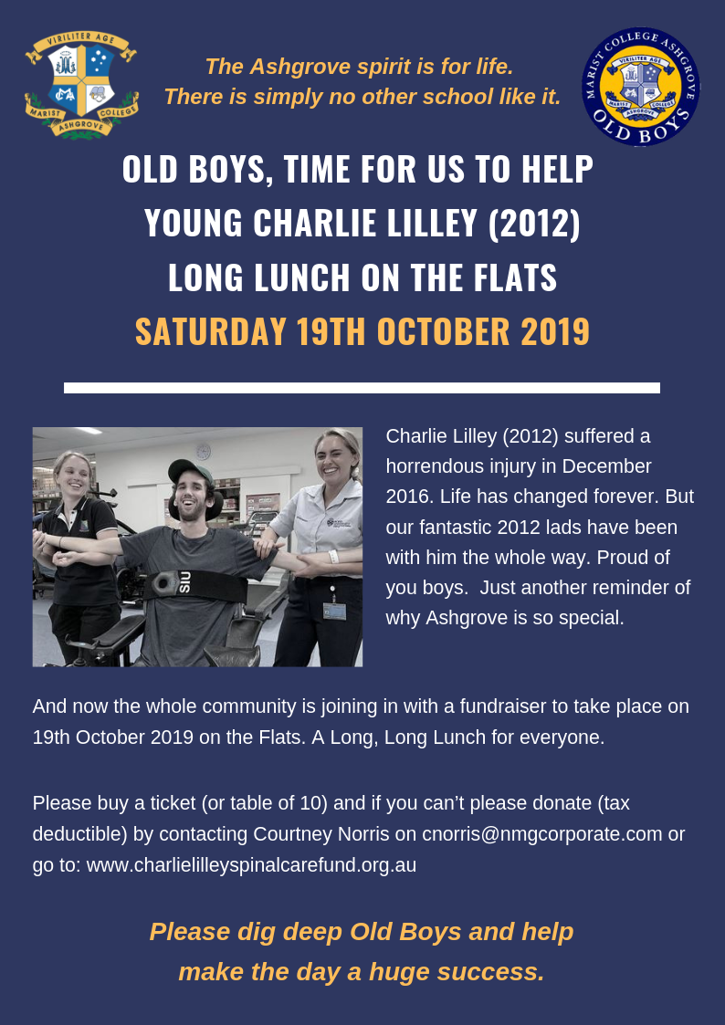 Help Young Charlie Lilley (2012) Long Lunch on the Flats Saturday 19 Oct 2019