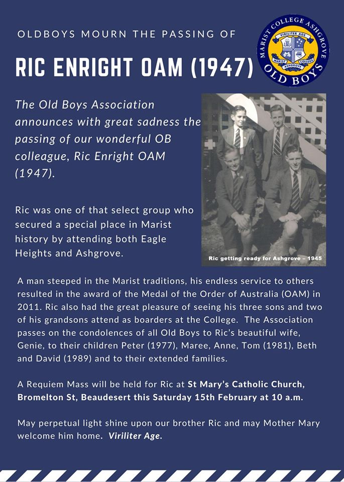 Old Boys Mourn the Passing of Ric Enright OAM (1947)