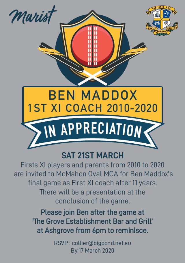 Ben Maddox 1st XI Coach 2010 – 2020