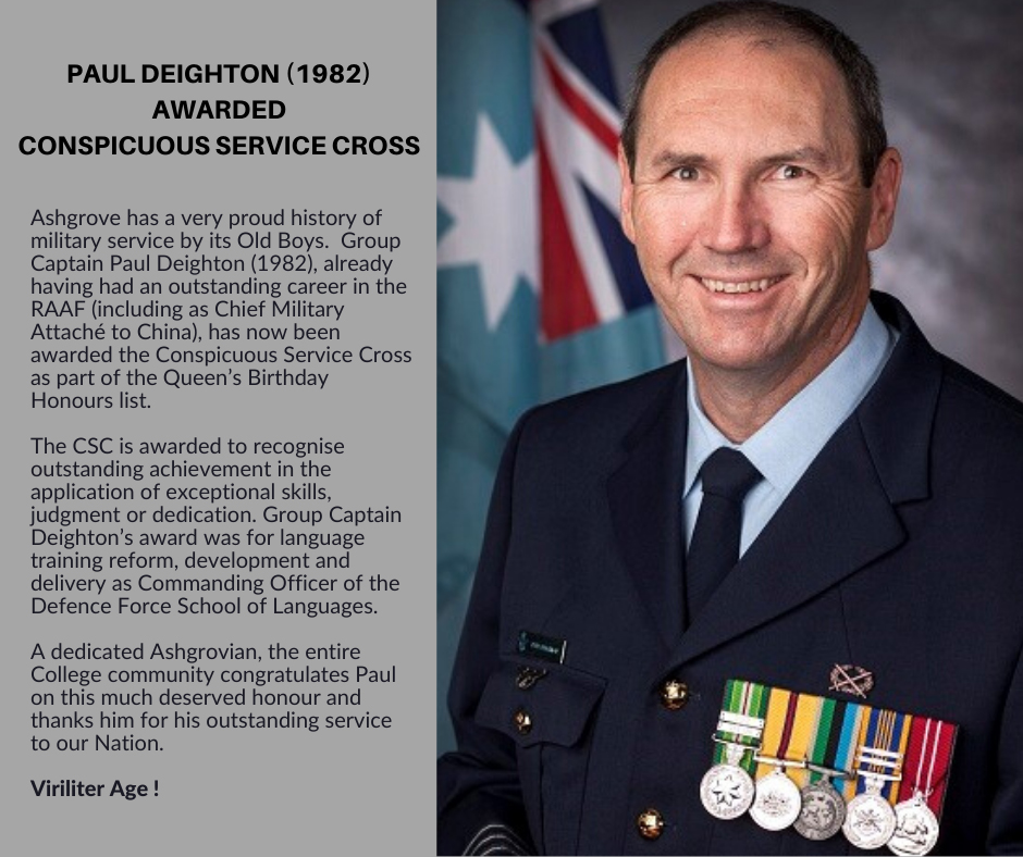 Paul Deighton (1982) Awarded Conspicuous Service Cross