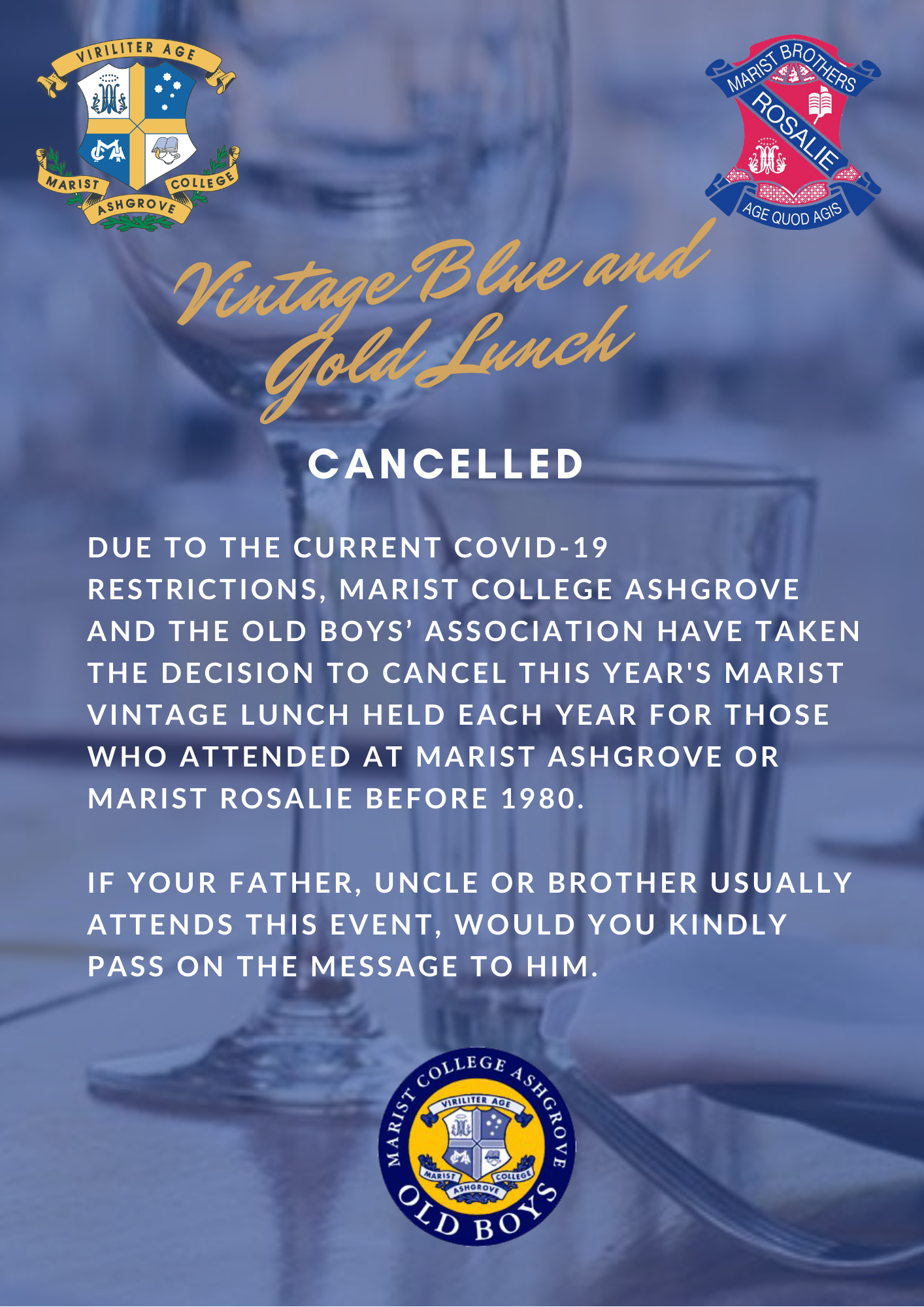 Vintage Blue and Gold Lunch Cancelled