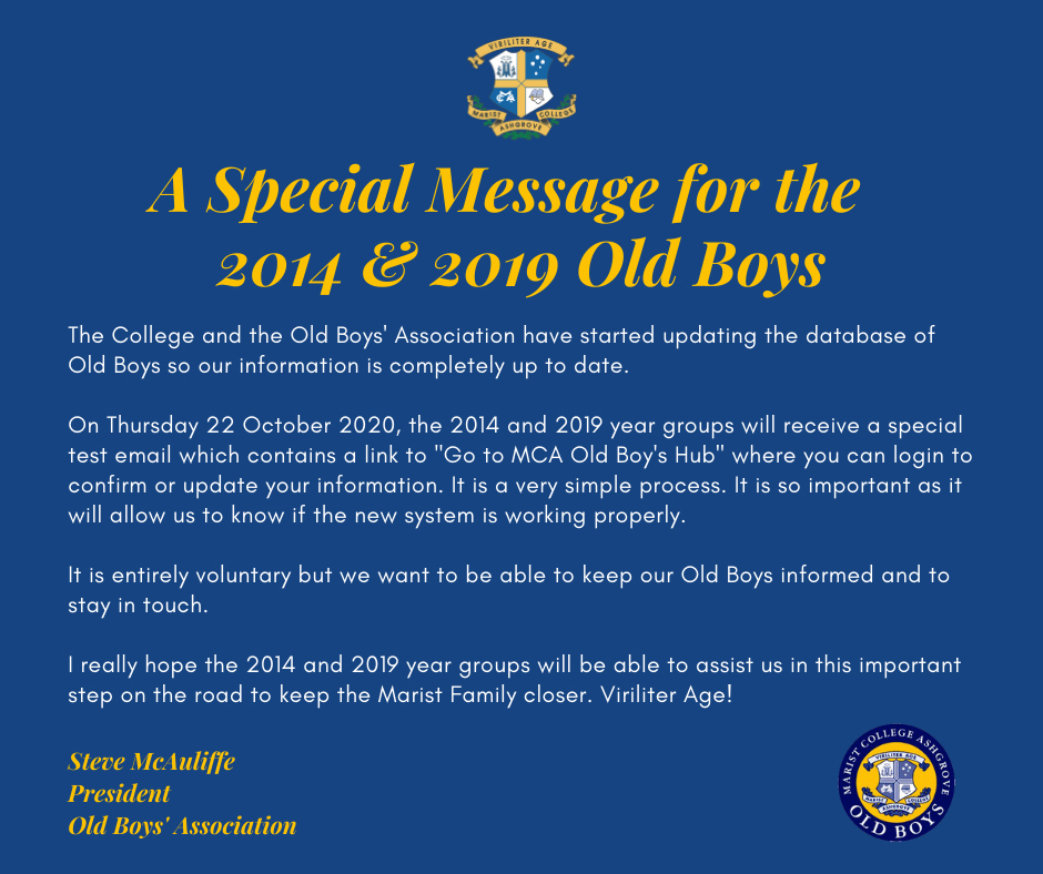 A Special Message for the 2014 & 2019 Old Boys