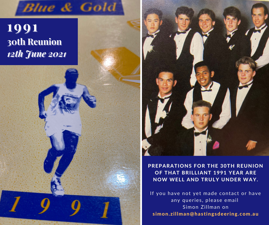 1991 30th Reunion – 12th June 2021